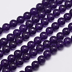 Natural Malaysia Jade Bead Strands, Dyed, Round, Indigo, 8mm, Hole: 1.0mm, about 48pcs/strand, 15 inches
