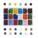 18 Colors Transparent Glass Beads, Round, Mixed Color, 10mm, Hole: 1mm; 15pcs/color, 270pcs/box