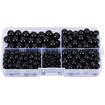 PandaHall About 316 Pcs Black Stone Round Spacer Beads for Jewelry Making (4mm, 6mm, 8mm, 10mm)