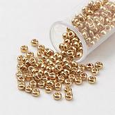 FGB® 11/0 Dyed Glass Seed Beads, Grade A, Round, Gold, 2.3x1.5mm, Hole: 1mm; about 5300pcs/50g