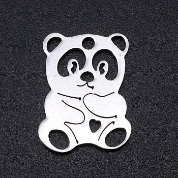 Pendentifs en 201 acier inoxydable, panda, couleur inoxydable, 16x12x1mm, Trou: 1.5mm