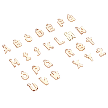Brass Charms, Alphabet, Real 18K Gold Plated, Letter A~Z, 8~8.5x4~6x1.5mm, Hole: 0.8mm