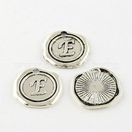 Flat Round Tibetan Style Alloy Letter PendantsX-TIBEP-R344-E-RS-1