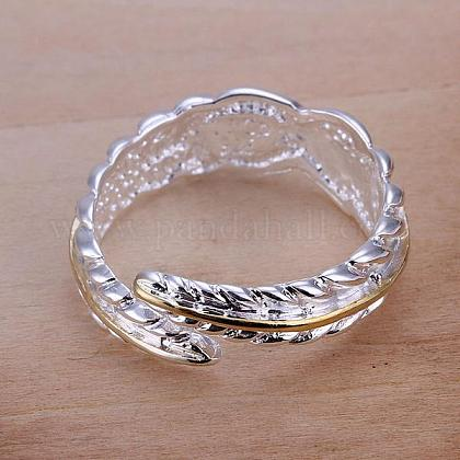 Romantic Feather Adjustable Brass Cuff Rings RJEW-BB12010-1