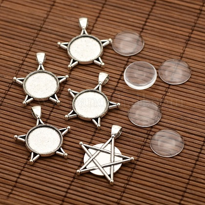 Supports alliage pendentif cabochon de lunette de style tibétain DIY-X0236-AS-1