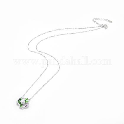 Collares pendientes de plata de ley 925NJEW-F246-14P-1