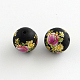 Flower Picture Brushwork Glass Round Beads GFB-R004-14mm-M21-3