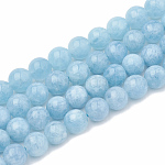 Natural Aquamarine Beads Strands, Dyed, Round, 8~9mm, Hole: 1mm; about 45~48pcs/strand, 15.7
