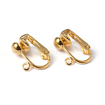 Iron Clip-on Earring Findings, for non-pierced ears, Golden, Nickel Free, about 13.5mm wide, 15.5mm long, 7mm thick, hole: about 1.2mm