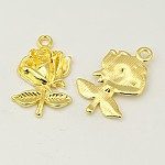 Gifts Ideas for Her Tibetan Style Pendants, Lead Free and Cadmium Free, Flower, for Mother's Day Earring Making, Golden, Size: about 17.5mm wide, 25.5mm long, 3mm thick, hole: 1.5mm