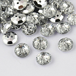 2-Hole Taiwan Acrylic Rhinestone Flat Round Buttons, Faceted & Silver Plated Pointed Back, White, 10x4mm, Hole: 1mm