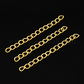 Iron Ends with Twist Chains, Golden, 45~55x3.5mm, Links: 5x3.5x0.8mm