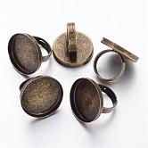 Antique Bronze Tone Adjustable Brass Ring Shanks, Pad Ring Base Findings For Jewelry Making, 17mm; Tray: 25mm
