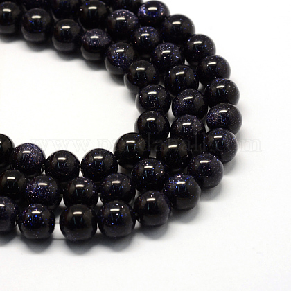 Synthetic Blue Goldstone Bead Strands X-G-S210-8mm-1