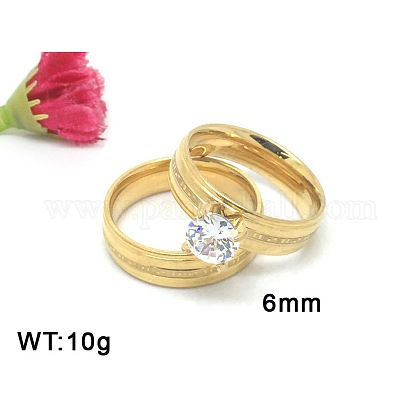Engraved 304 Stainless Steel Cubic Zirconia Couple Rings Engagement Wedding Finger RingsRJEW-V0101-B-1