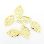Leaf Iron Pendants, Etched Metal Embellishments, Golden, 23.5x14x0.4mm, Hole: 1mm