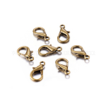 Zinc Alloy Lobster Claw Clasps, Antique Bronze Color, about 21mm long, 12mm wide, hole: 2mm