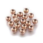 Круглые 304 из нержавеющей стали бусины, розовое золото , 10 мм, отверстие : 2 мм