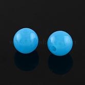 Perlas de acrílico fluorescentes, redondo, azul reluciente, 8mm, Agujero: 1.5 mm; aproximamente 1700 unidades / 500 g