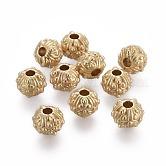 Tibetischer stil legierung perlen, Runde mit Blume, Bleifrei und Nickel frei und Cadmiumfrei, echtes 18k vergoldet, mattgoldene Farbe, 11x8~8.5 mm, Bohrung: 3 mm