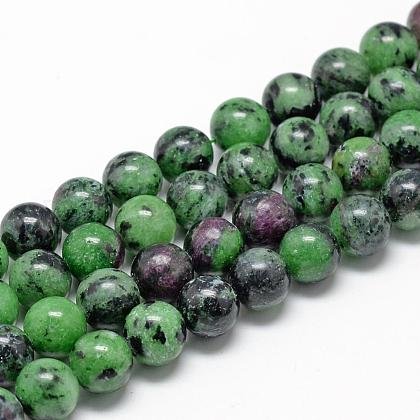 Natural Ruby in Zoisite Beads Strands G-R446-6mm-25-1