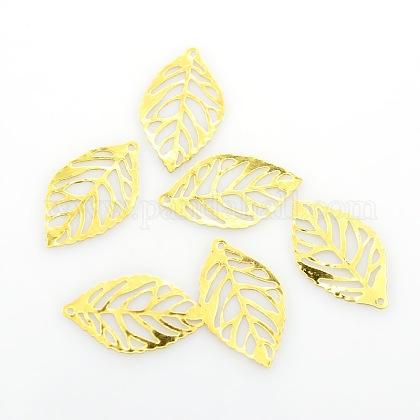 Leaf Iron PendantsKK-O015-20G-1