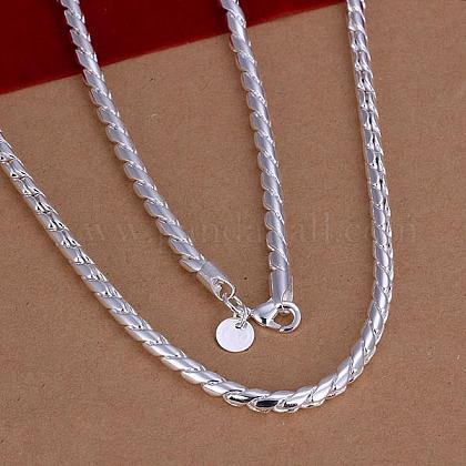 Popular Silver Color Plated Brass Twisted Chain Necklace Making For MenNJEW-BB12746-20A-1