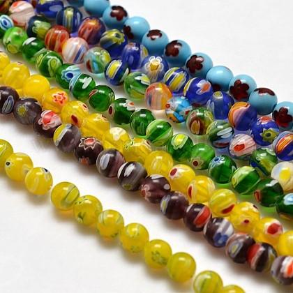 Round Millefiori Glass Beads StrandsLK-P001-M-1