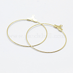 Brass Pendants, Long-Lasting Plated, Nickel Free, Open Circle/Ring, Real 18K Gold Plated, 20 Gauge, 39.5x36x0.8mm, Hole: 1mm