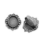 Vintage base anillo de hierro componentes del anillo de dedo de acero, sin plomo y el cadmio, plata antigua, 17x5 mm, bandeja ovalada: 18x13 mm