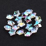 Glass Pendants, Faceted Christmas Star, Clear AB, AB Color Plated, 13x7mm, hole: 1mm