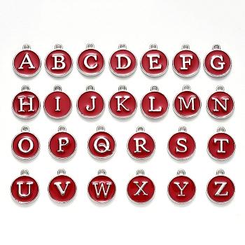 Ciondoli smaltati in lega placcata platino, paillettes smaltate, piatta e rotonda con l'alfabeto, lettera a ~ z, turchese, rosso scuro, 14x12x2mm, Foro: 1.5 mm; 26 pc / insieme