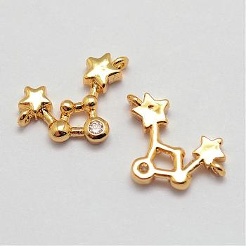 Messing Mikro ebnen Zirkonia Verbinder, Konstellationen / Sternbild, Schütze, Bleifrei & Nickel frei, golden, 15x9.5x2.5 mm, Bohrung: 0.5 mm
