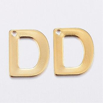 304 Stainless Steel Charms, Letter, Initial Charms, Letter.D, 11x6~12x0.8mm, Hole: 1mm