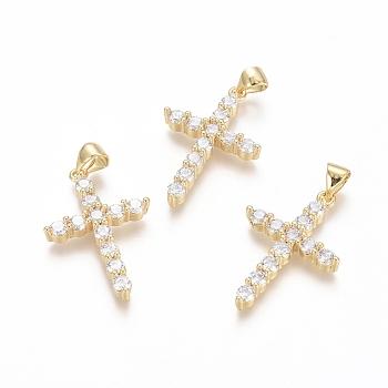 Brass Micro Pave Clear Cubic Zirconia Pendants, Cross, Golden, 26.5x17.5x3.5mm, Hole: 3.5x4.5mm