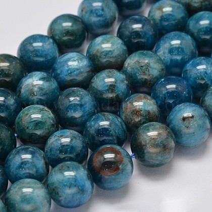 Natural Apatite Round Bead Strands G-M304-14-10mm-1