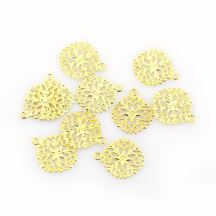 Flat Round Brass Flower Filigree Findings Charms Pendants KK-O015-05G-1