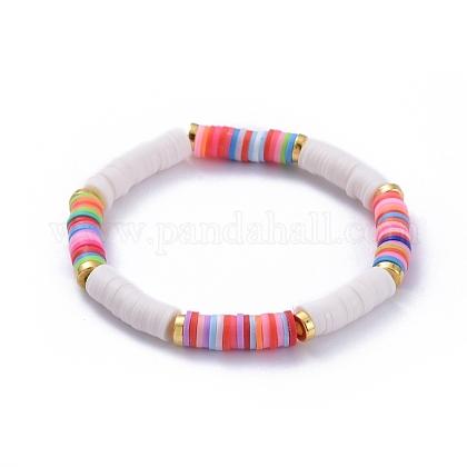 Handmade Polymer Clay Heishi Beads Stretch BraceletsX-BJEW-JB05091-04-1
