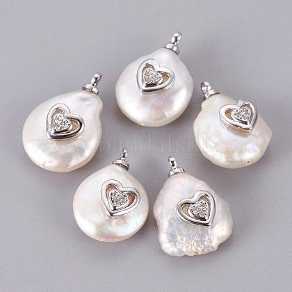 Colgantes naturales de perlas cultivadas de agua dulcePEAR-F008-55P-1