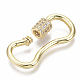 Brass Micro Pave Clear Cubic Zirconia Screw Carabiner Lock Charms ZIRC-T013-02G-NF-2