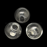 Round Handmade Blown Glass Globe Beads, for Stud Earring Making or Crafts, Half Drilled, Clear, 20mm, Hole: 4mm