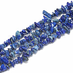 Natural Lapis Lazuli Beads Strands, Dyed, Chip, 3~11x3~5x1~4mm, Hole: 1mm; about 380~400pcs/strand, 33''