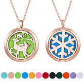 SUNNYCLUE® 304 Stainless Steel Pendant Necklaces, with 316 Stainless Steel Diffuser Locket Pendants, Velvet Jewelry Pouches Bags, Rose Gold,  23.6 inches(60cm)
