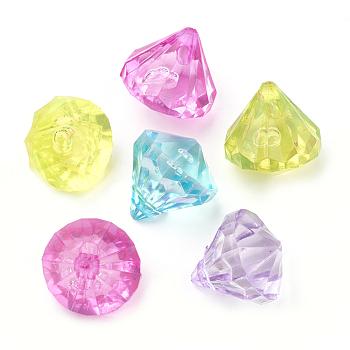 クリアアクリルチャーム  ダイヤモンド  ミックスカラー  12x11mm  穴:1.5mm、約905個/500g