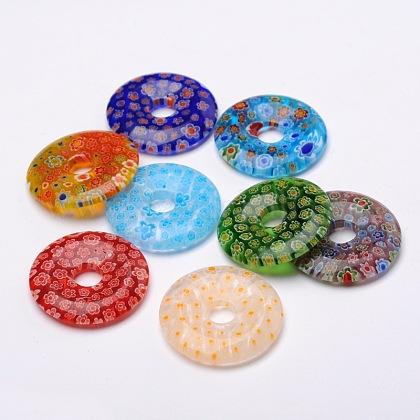 Пончик / пи диск миллефиори стеклянные подвескиLK-N001-10-1