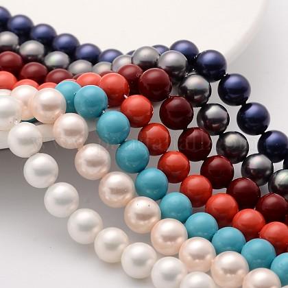 Shell Pearl Beads StrandsBSHE-SP8mm-1