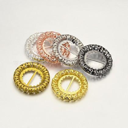 Latón anillo hueco hebillas zapato de vestirX-KK-E639-07-1