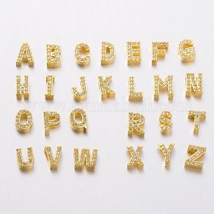 Golden Plated Brass Micro Pave Cubic Zirconia Alphabet Slide CharmsZIRC-E015-01-1