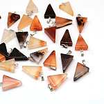 Triangle Dyed Natural Agate Pendants, with Platinum Tone Brass Findings, 22~25x14~15x5~7mm, Hole: 2x7mm