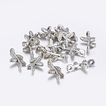 Tibetan Style Links Connectors, Lead Free & Cadmium Free & Nickel Free, Branch, Antique Silver, 17mm long, 9.5mm wide, 3mm thick, hole: 1mm